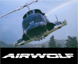 Airwolf copter with white on black name